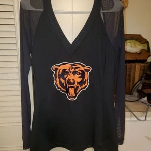 Chicago Bears Sheer Sleeve Stretch Top NWOT